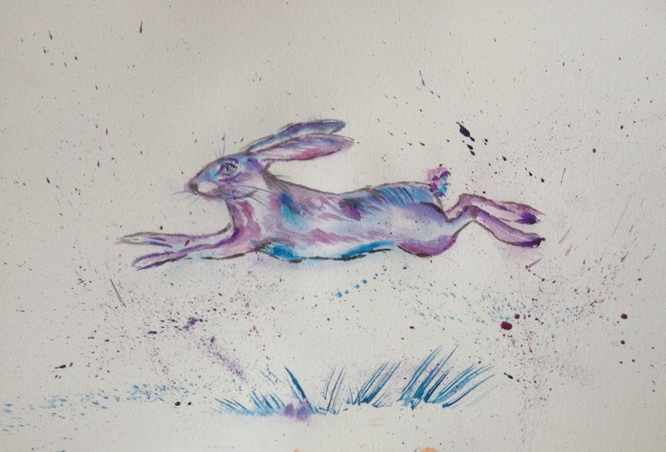 Jump to it, 15x11 inch watercolour mounted ready to frame - Image 0