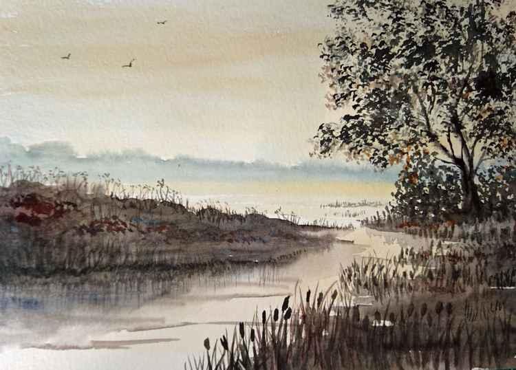 misty autumn morning -