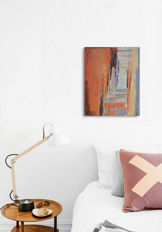 """Perspetctive of the city 08"",40/50 cm, oil painting on cotton canvas. Unique impasto texture. - Image 0"