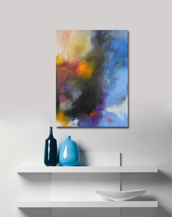 Dream Catcher VII - Blue Abstract Painting - Image 0