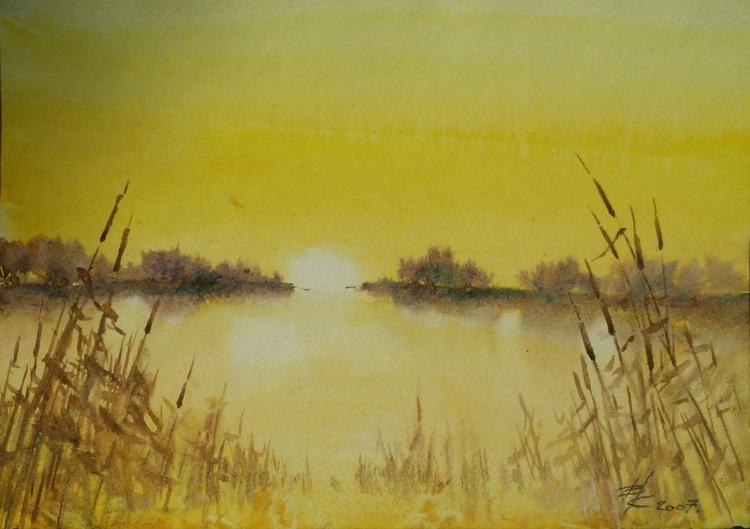 Break of day. 30X21cm.Original watercolours, gift. - Image 0