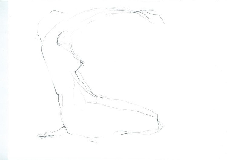 Sitting woman in pencil - Image 0