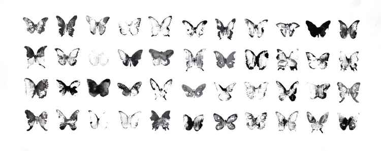 Fourty-four butterflies 7530BW1 (75 x 30 cm)