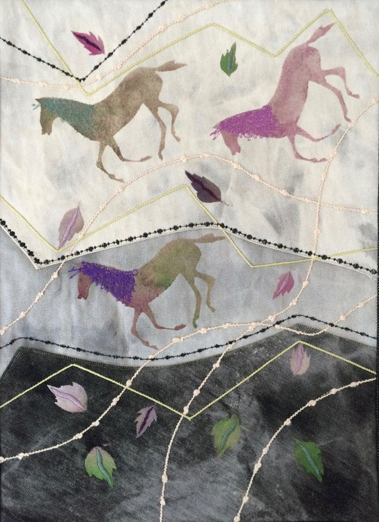 Three Galloping Horses on Denim by Jackie Wills (2006) - Image 0