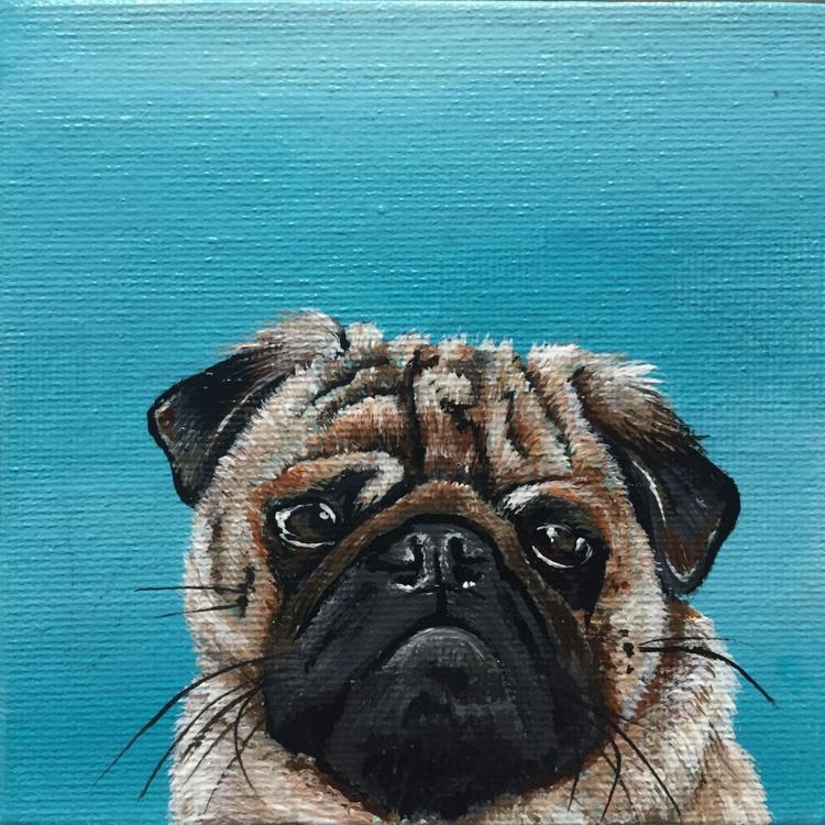 Pug on turquoise (miniature) - Image 0