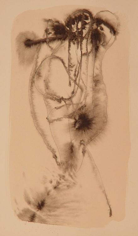 Three Headed Flutist, 24x42 cm - Image 0
