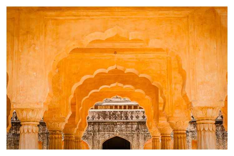 Arches at Temple Ruin, Jaipur, India.