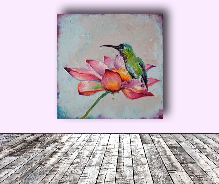 ZEN - Hummingbird on Lotus, Original Floral Oil Painting, Flower and Bird - Ready to Hang - Image 0