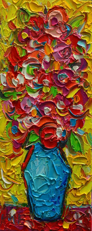 COLOURFUL WILD FLOWERS - abstract modern impressionist floral miniature original palette knife oil painting - Image 0