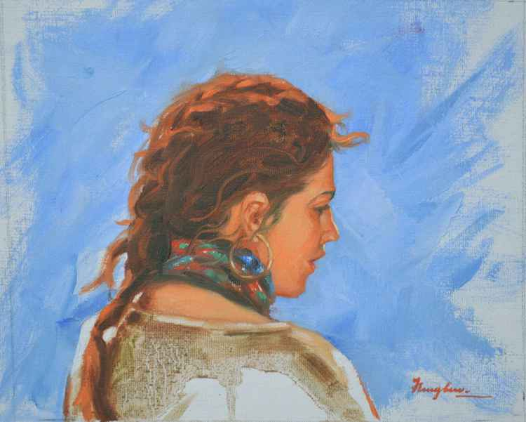 original oil painting art portrait of girl on canvas#16-1-25-01 -