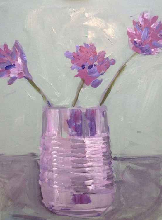 Chive Flowers in tin