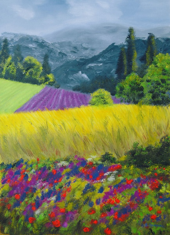 Landscape with flowers - Image 0