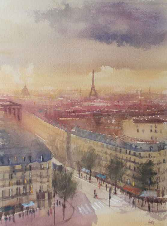 """Paris, The view from the rooftop terrace of """"Lafayette Gallery"""" before sunset"""