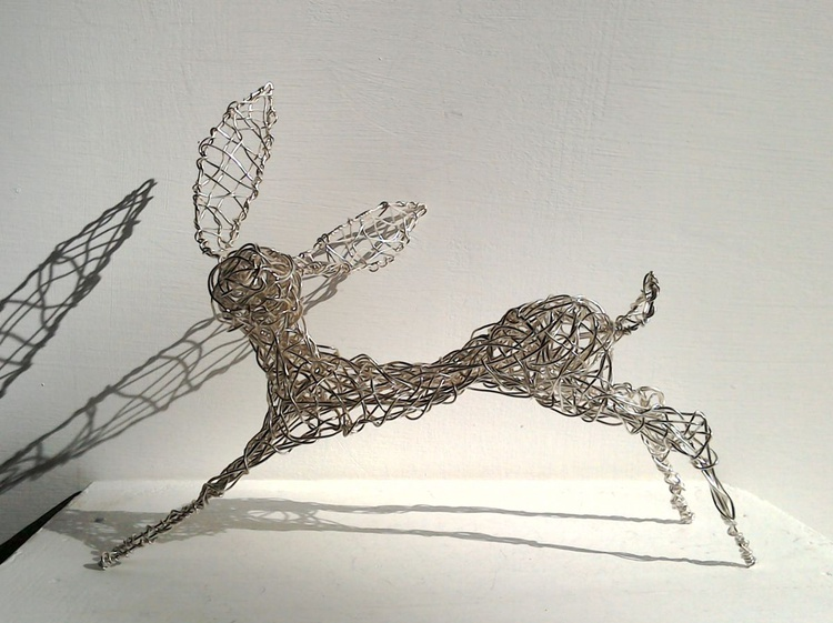 Running Free - Silver wirework hare. - Image 0