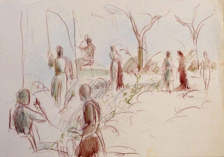 People in the garden, pencil sketch 21x29 cm - Image 0