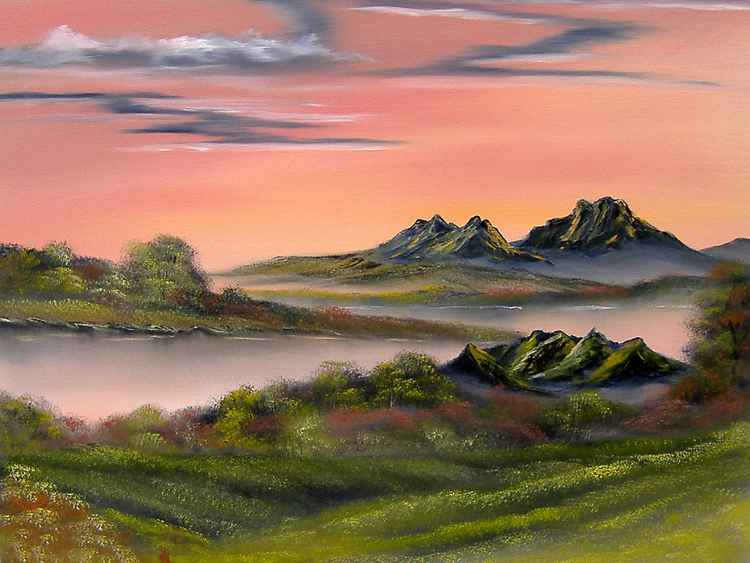 Peachy Panorama. Sold.