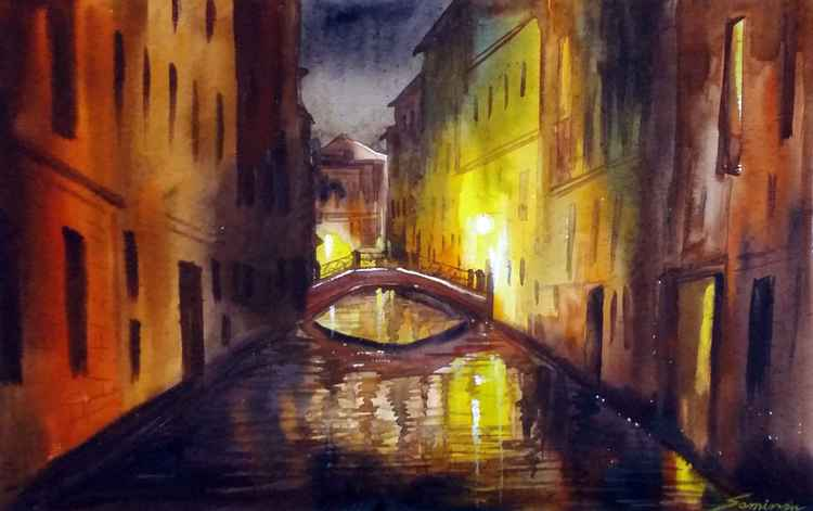 Night Venice Canals - Watercolor Painting
