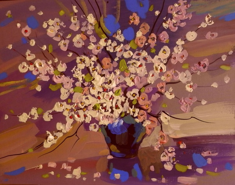 spring bouquet for the beloved II. original painting 27x21 cm - Image 0