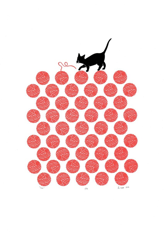 Cat in Cherry Red - Unframed - FREE Worldwide Delivery - Image 0