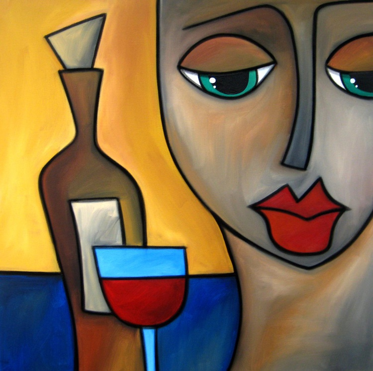 By Myself - Original Abstract painting Modern pop Wine Art Contemporary Portrait FACES by Fidostudio - Image 0