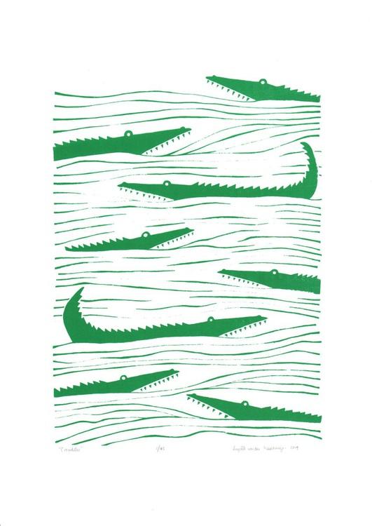 Crocodiles (green) - Unframed - FREE Worldwide delivery - Image 0