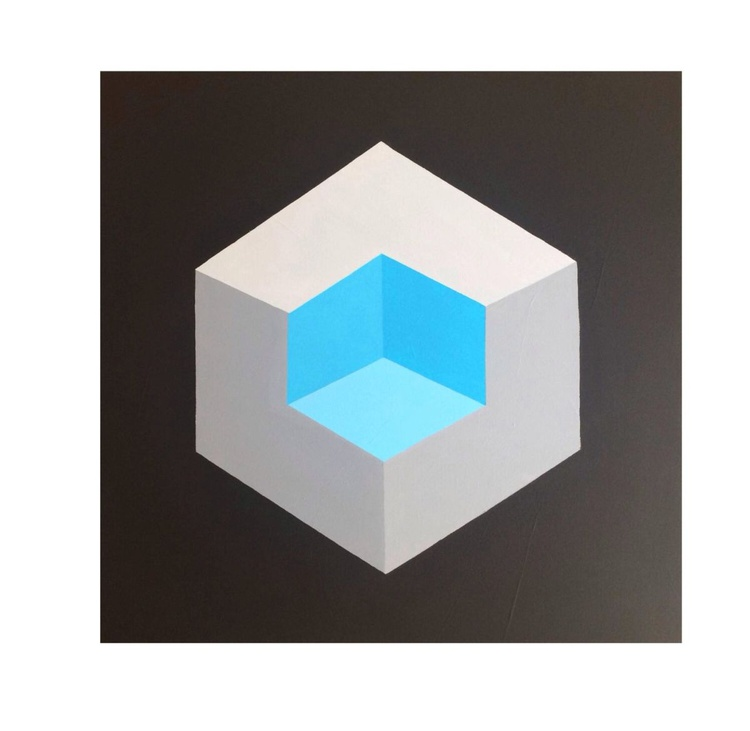 Isometric Op Art Canvas Painting - Image 0