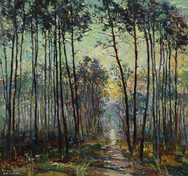 Morning Forest Landscape painting 80x75 cm - Image 0