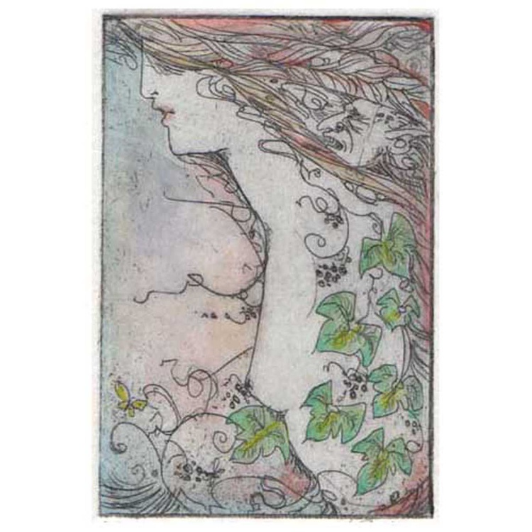 Ivy fantasy etching with a woman and goblin and ivy leaves - Image 0