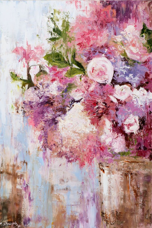 Original artwork Abstract flowers, Pink bouquet, Peonies, Pink flowers - Image 0