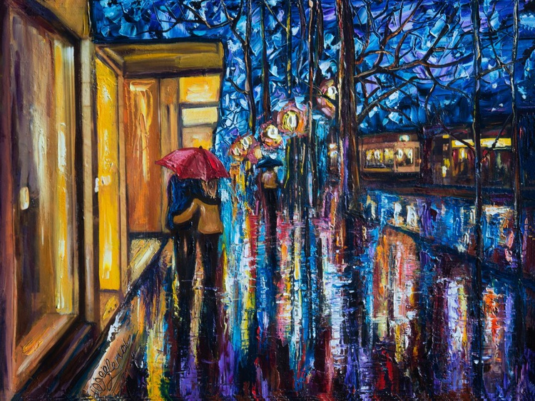 Love in the Rain (Palette Knife) - Image 0