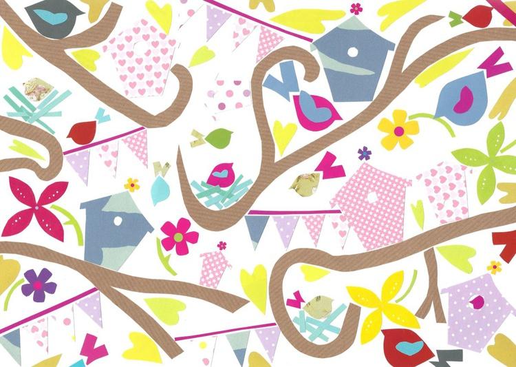Beautiful Birds (Hand Cut Collage) Original Picture - Image 0