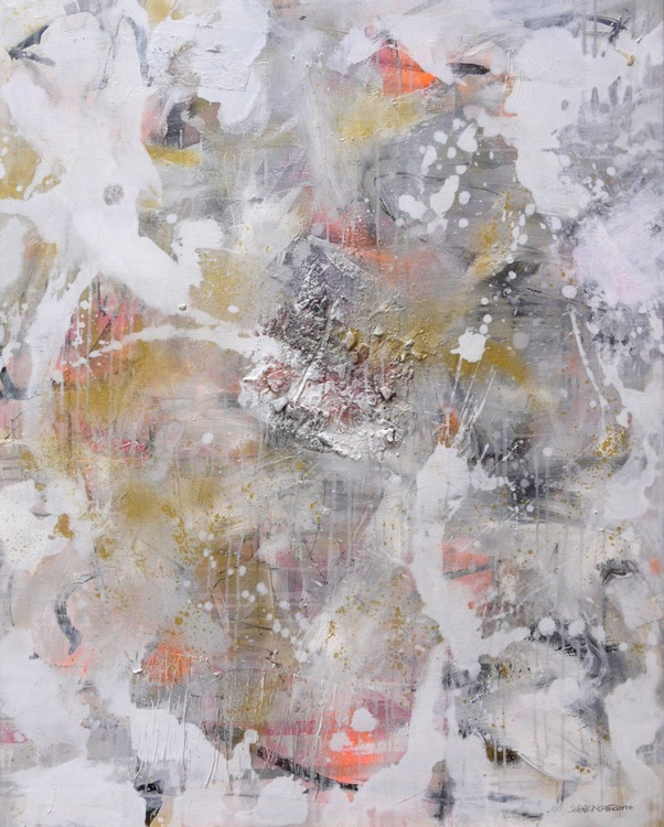 Interstellar Dust | large abstract painting | white gold silver grey black - Image 0