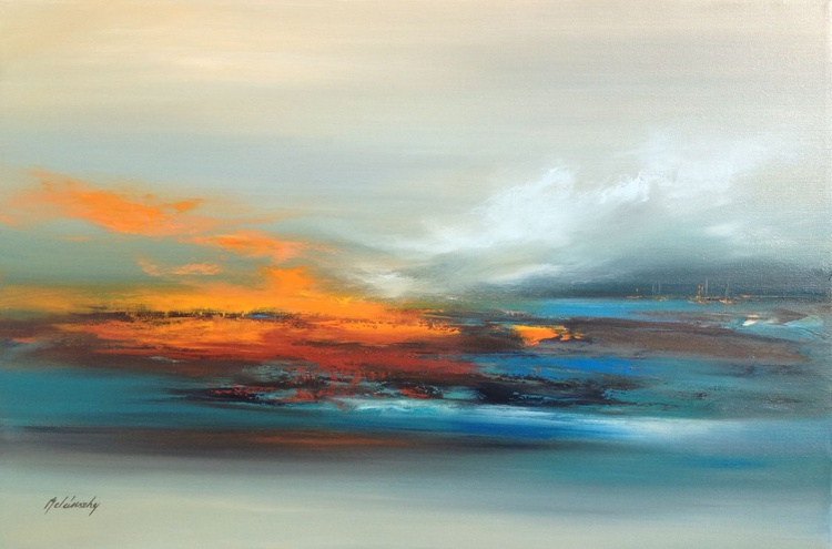 Third Lake - 60 x 90 cm abstract landscape oil painting in gray, blue and orange - Image 0