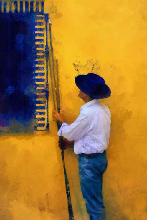 Spanish Man at the Yellow Wall (Ltd Edition of only 25 Fine Art Giclee Prints from an original photograph)