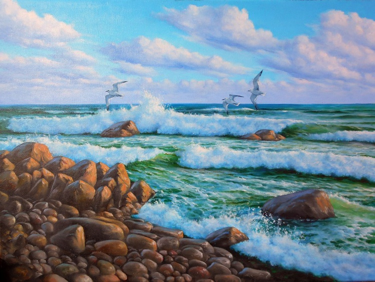 Sea Breeze /Oil on canvas /Free Shipping - Image 0