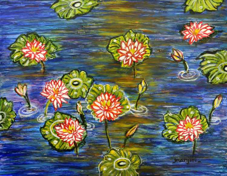Lotus Pond II vibrant and colorful painting.