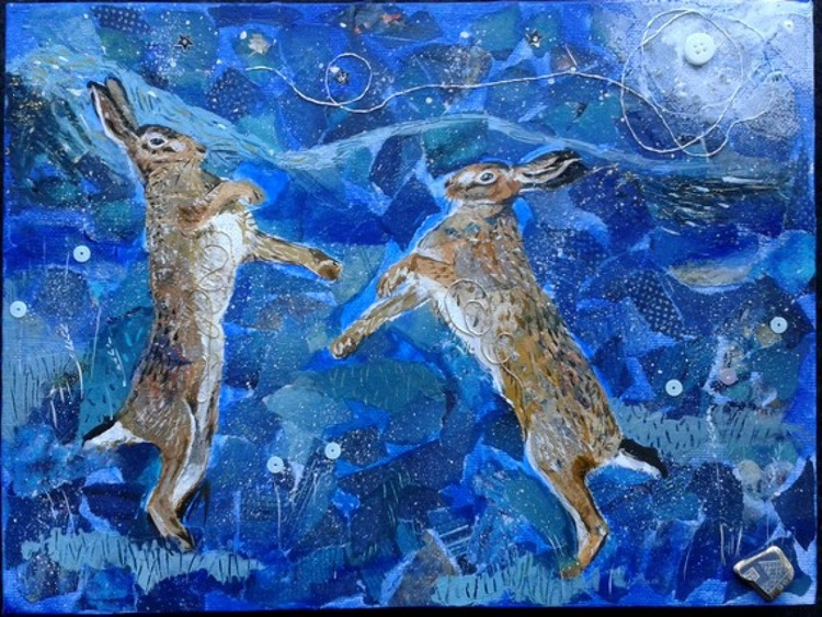 Hares dancing in the light of the moon - Image 0