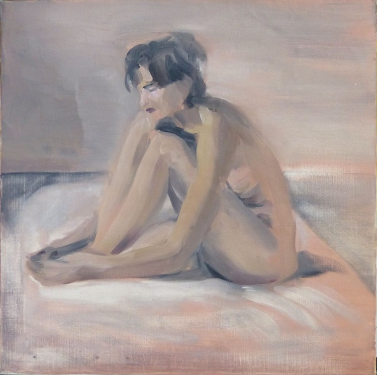 Seated Nude, oil on canvas 50x50 cm, ready to hang - Image 0