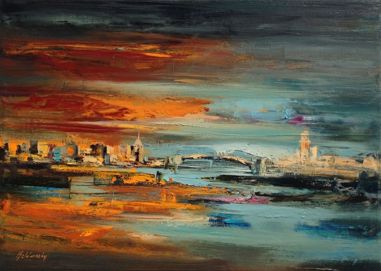 Two sides of the river Szamos - 50 x 70 cm, turquoise, orange, brown abstract cityscape painting - Image 0