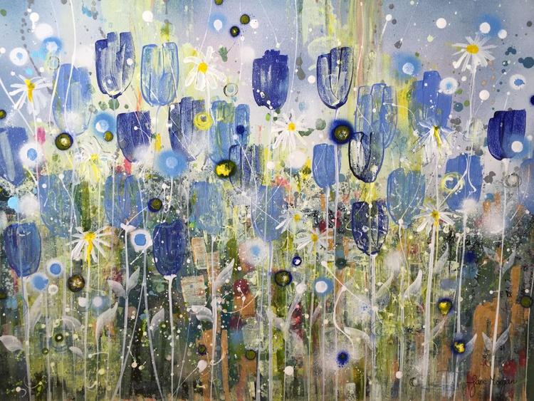 Blue flowers, large canvas - Image 0