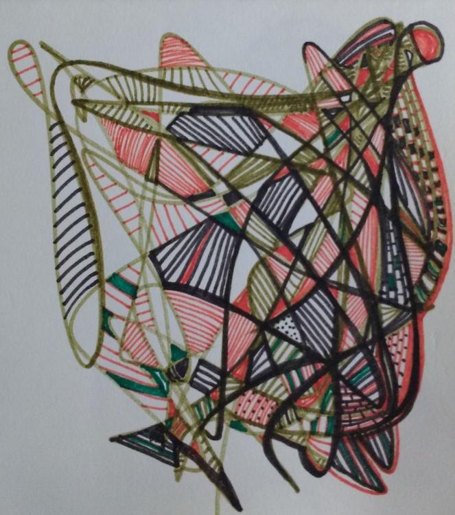Green and Orange 20's Energy Drawing (13cm x 14cm) - Image 0