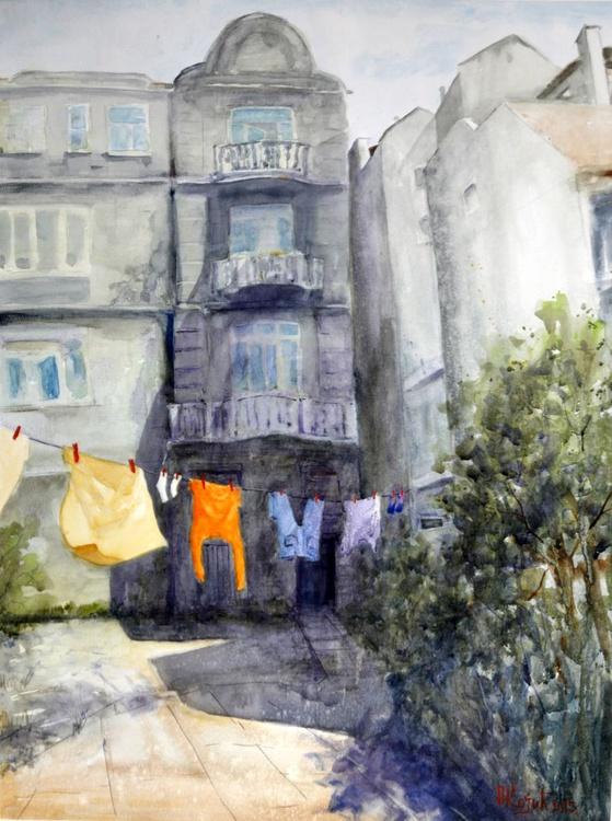 Yard in Skadarlija Belgrade - original watercolor painting by Nenad Kojic - Image 0