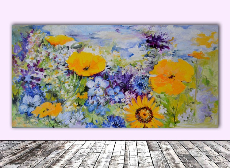 Yellow and Purple Flowers Field - Big, Large Modern Ready to Hang Oil Painting - Flower Oil Painting, Floral painting - Image 0