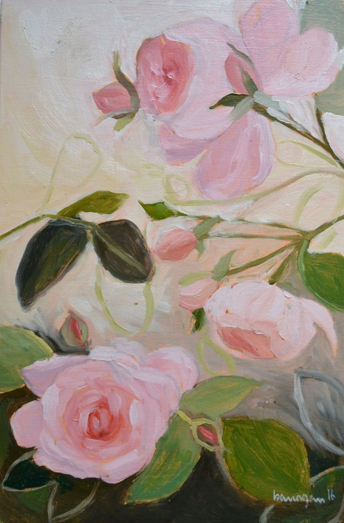 Pink Roses in Florence Italy n. 2 Plein Air Oil Painting - Image 0