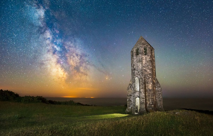 Medieval Lighthouse Next to The Milky Way - Image 0
