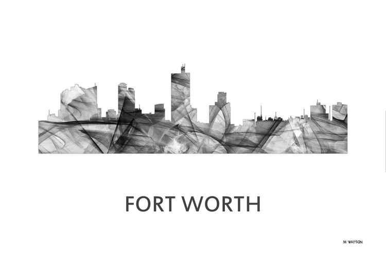 Fort Worth Texas Skyline WB BW