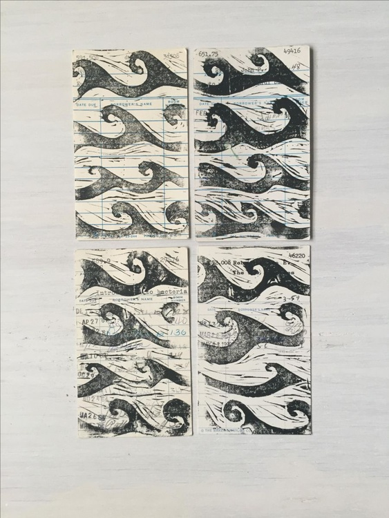 Wave hand printed library cards - set of four - Image 0