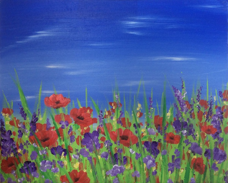Poppies and Sunshine 22 x 18ins - Image 0