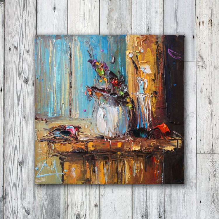 One summer night, Oil Painting on Canvas, Free Shipping - Image 0