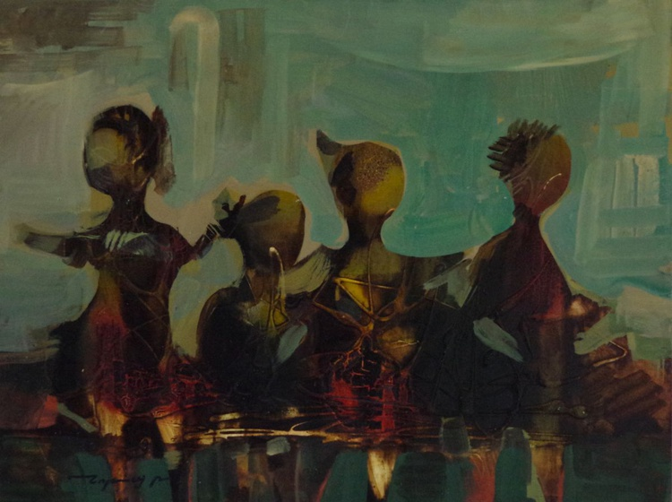 Figures in Abstract, oil painting, Original Handmade art, contemporary, Unique style, One of a Kind - Image 0